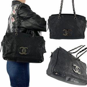 CHANEL CC Diamond Stitch Chain Tote Bag Black